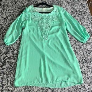 Mint Green Dress w/ Crotchet Design